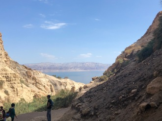 Looking across at the Dead Sea from the David Waterfall at Ein Gedi (photo: Neal Pollard)