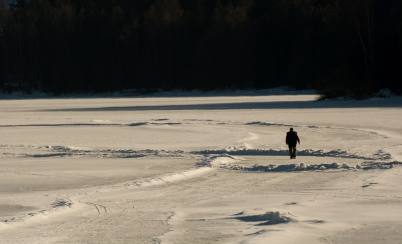 walking on frozen lake